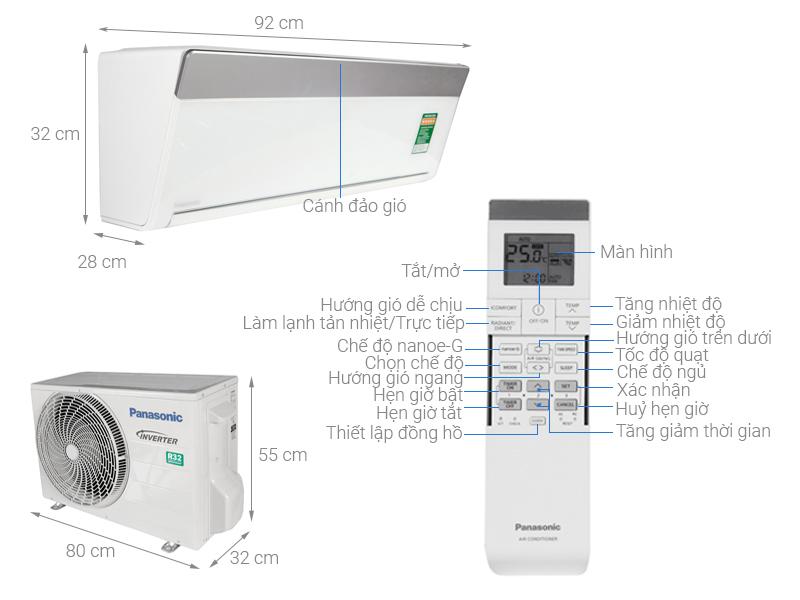 Thông số kỹ thuật Điều hòa 2 chiều Panasonic Inverter 8530 BTU CU/CS-VZ9TKH-8