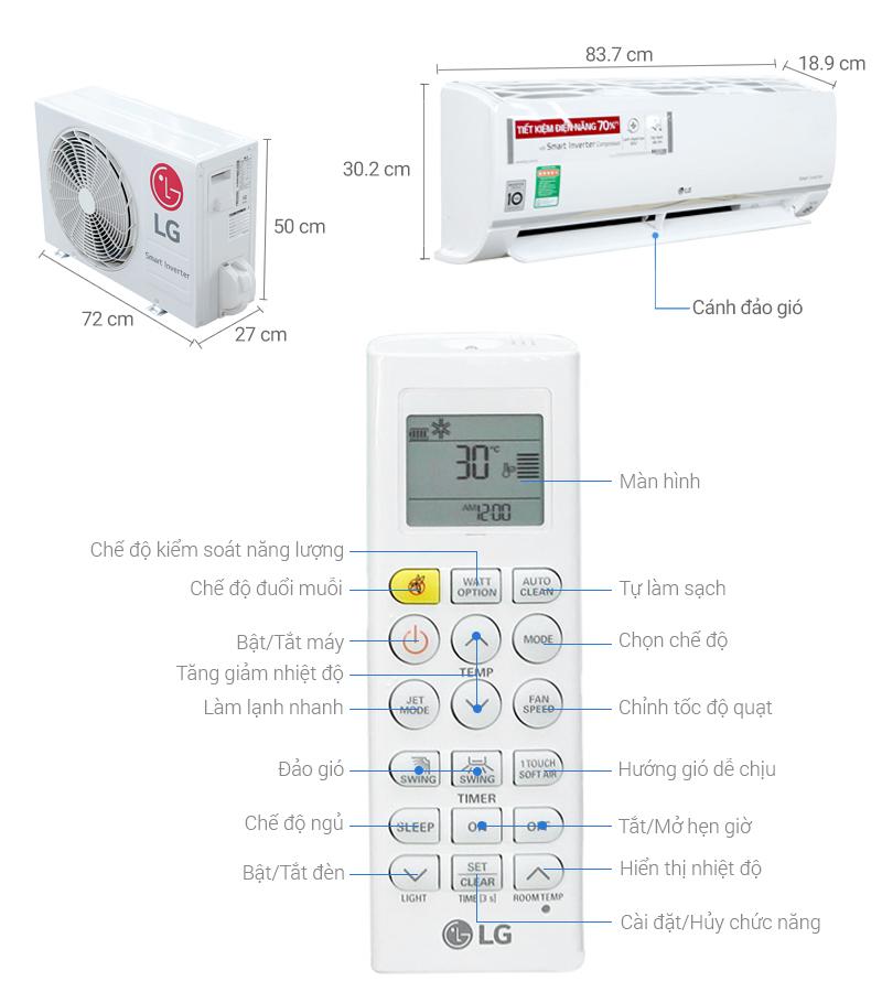 Thông số kỹ thuật Máy lạnh LG Inverter 1 HP V10APR