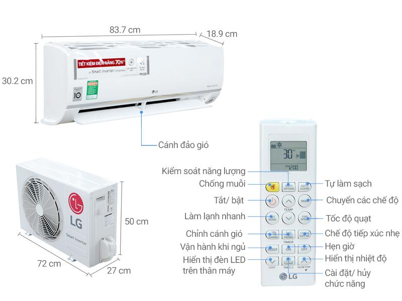 Thông số kỹ thuật Máy lạnh LG Inverter 1.5 HP V13APR