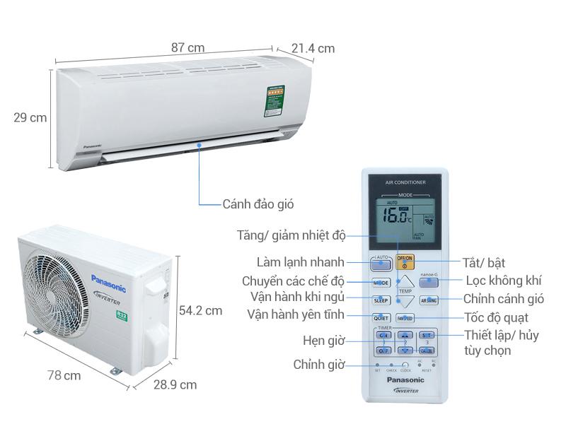 Thông số kỹ thuật Điều hòa Panasonic Inverter 11900 BTU CU/CS-PU12TKH-8
