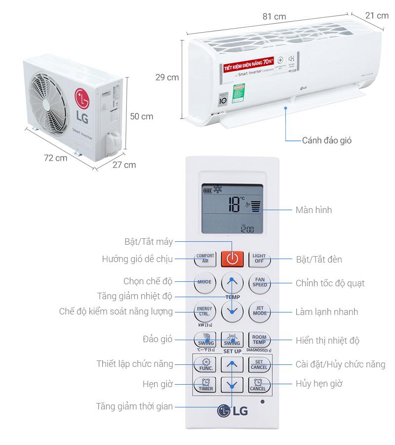Thông số kỹ thuật Máy lạnh LG Inverter 1.5 HP V13ENR