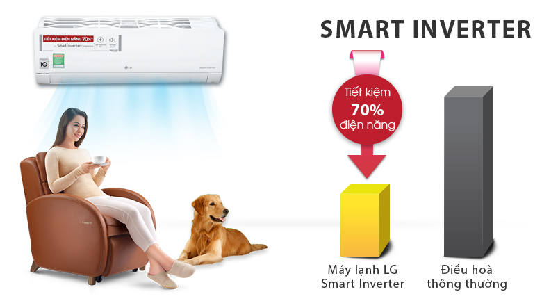 Smart Inverter - Máy lạnh LG Inverter 1.5 HP V13ENR
