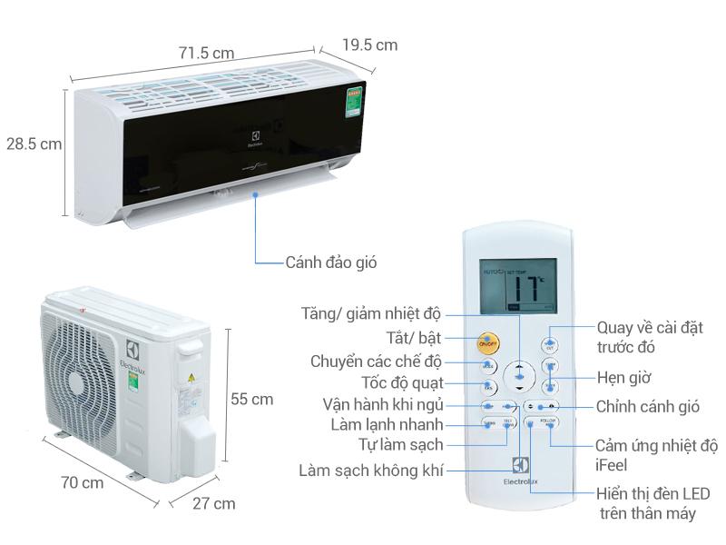 Thông số kỹ thuật Máy lạnh Electrolux Inverter 1 HP ESV09CRK-A1