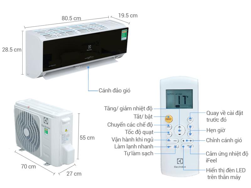 Thông số kỹ thuật Máy lạnh Electrolux Inverter 1.5 HP ESV12CRK-A1