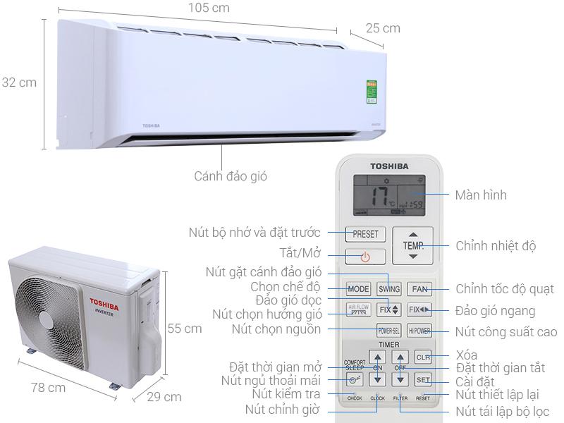 Thông số kỹ thuật Máy lạnh Toshiba Inverter 2 HP RAS-H18PKCVG-V