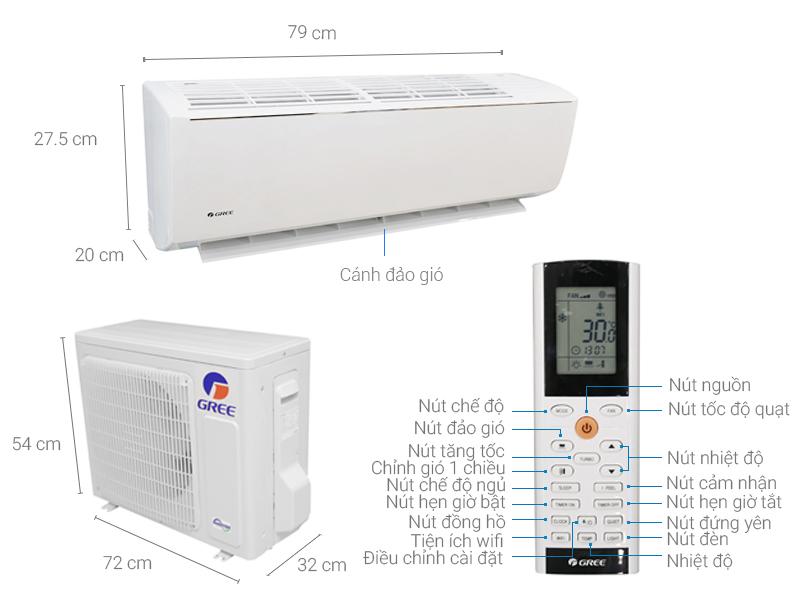 Thông số kỹ thuật Máy lạnh Gree Wifi Inverter 1.0 HP GWC09QB-K3DNB6B