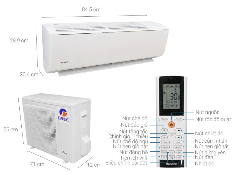 Thông số kỹ thuật Máy lạnh Gree Wifi inverter 1.5 HP GWC12QC-K3DNB6B