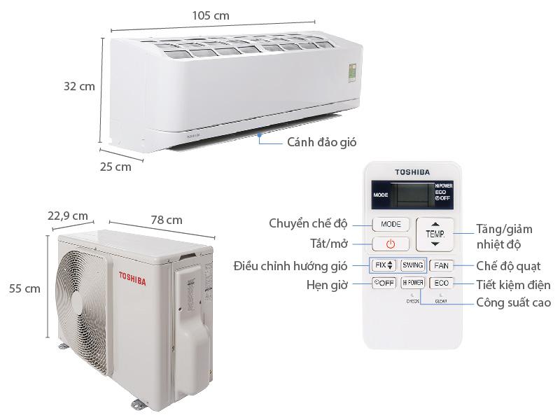 Thông số kỹ thuật Máy lạnh Toshiba 2HP RAS-H18QKSG-V