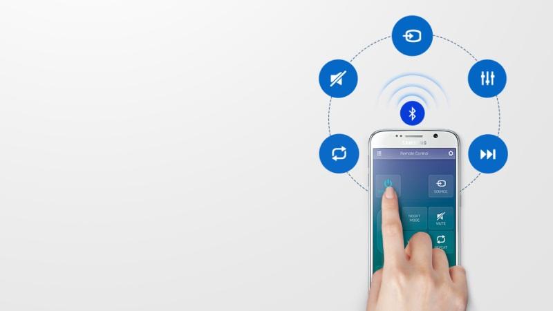 Loa Soundbar 2.1 Samsung HW-K450/XV- Điều khiển tiện lợi bằng điện thoại, máy tính bảng
