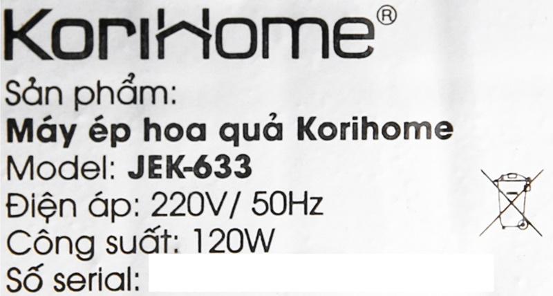 Công suất 120 W - Máy ép chậm Korihome JEK-633