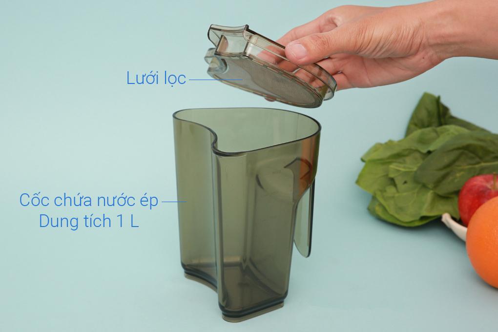 Cốc đựng nước ép dung tích 1 lít có thêm lưới lọc - Máy ép chậm trái cây Korihome JEK-844