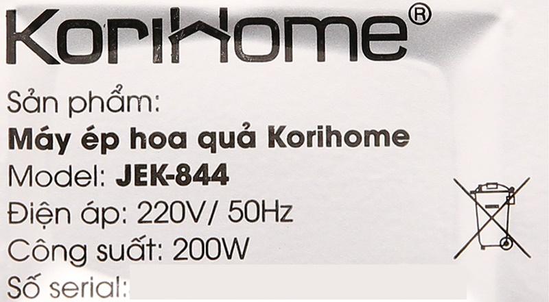 Công suất 200 W - Máy ép chậm trái cây Korihome JEK-844