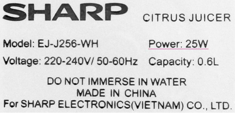 Vắt hiệu quả - Máy vắt cam Sharp EJ-J256-WH