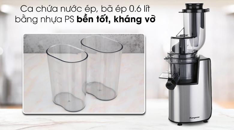 Máy ép chậm Kangaroo KG1B6 - Ca chứa nước ép bằng nhựa PS bền tốt