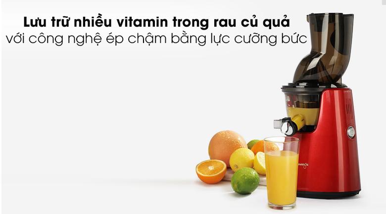 Máy ép chậm Kuvings E7000 - Gây ấn tượng mạnh với khả năng lưu trữ nhiều vitamin, enzym trong rau củ quả
