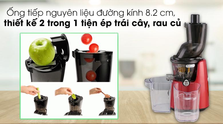 Máy ép chậm Kuvings E7000 - Ống tiếp nguyên liệu đạt đường kính tới 8.2 cm, thiết kế 2 trong 1
