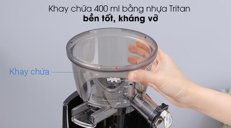 Máy ép chậm Kuvings EVO820 đen - Khay chứa nước ép bằng nhựa Tritan bền tốt, kháng vỡ, có dung tích 400 ml