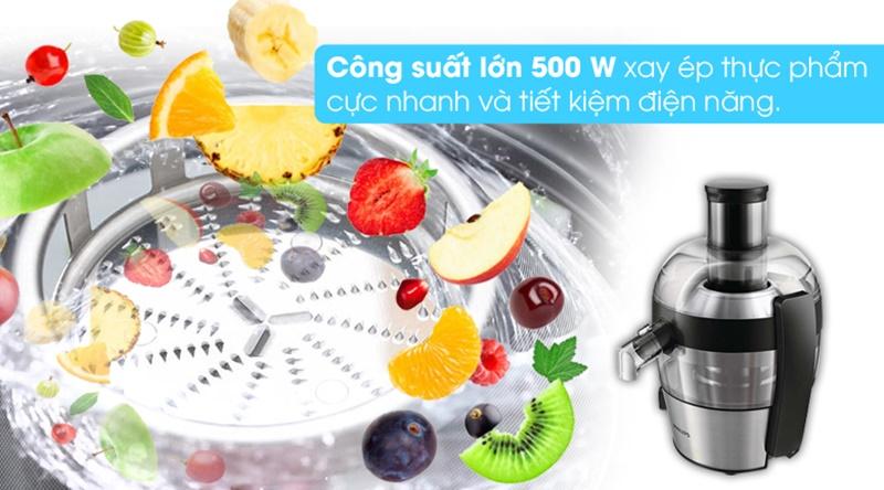 Công suất 500 W - Máy ép trái cây Philips HR1836