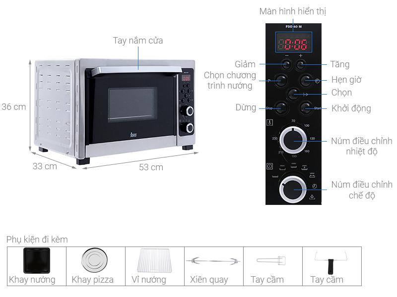 Thông số kỹ thuật Lò nướng Teka FSO 40M 38 lít