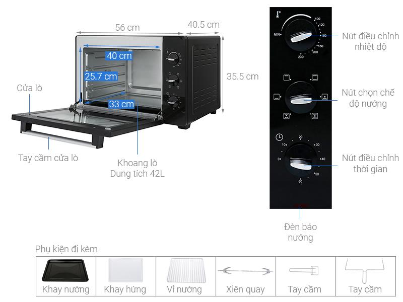 Thông số kỹ thuật Lò nướng BlueStone EOB-7588 42 lít