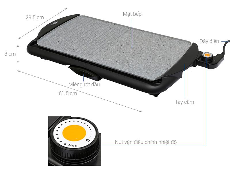 Thông số kỹ thuật Bếp nướng điện Delites BN03 2000W