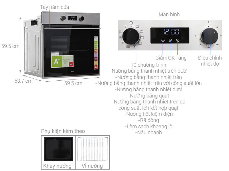 Thông số kỹ thuật Lò nướng âm Teka HSB 635 70 lít