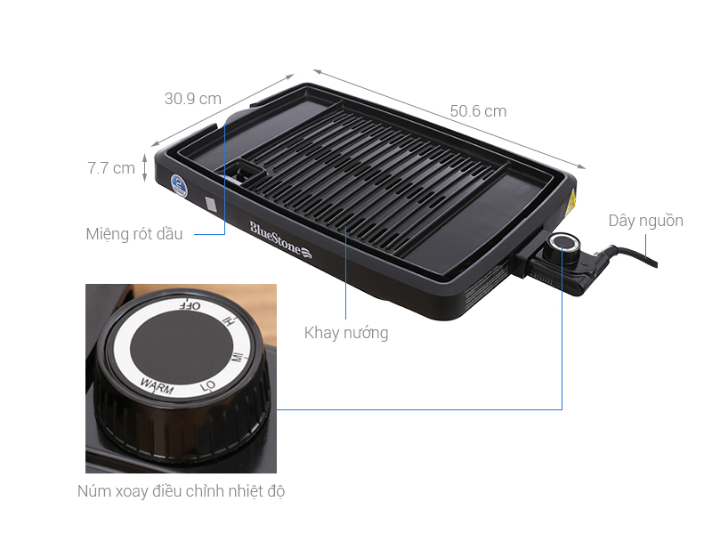Thông số kỹ thuật Bếp nướng điện Bluestone EGB-7408 1400 W