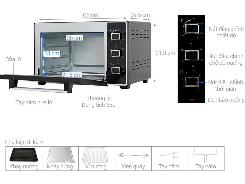 Thông số kỹ thuật Lò nướng Sanaky VH3599S2D 35 lít