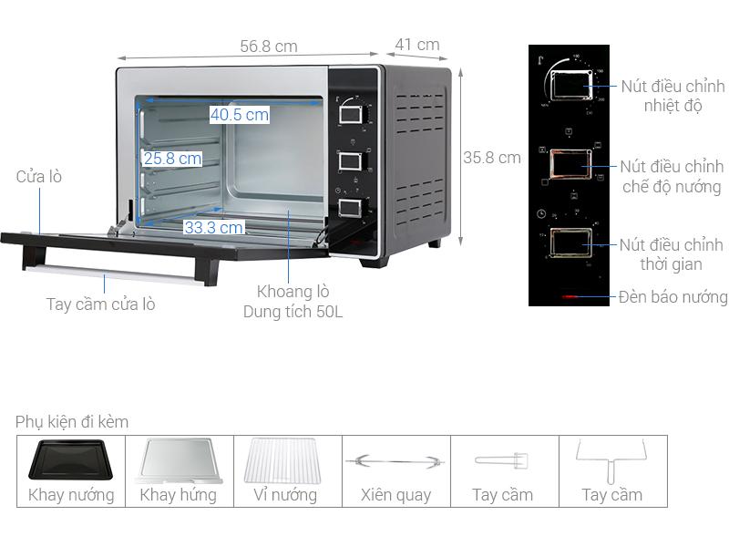 Thông số kỹ thuật Lò nướng Sanaky VH5099S2D 50 lít