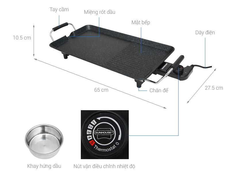 Thông số kỹ thuật Bếp nướng điện Sunhouse SHD4600 1600 W