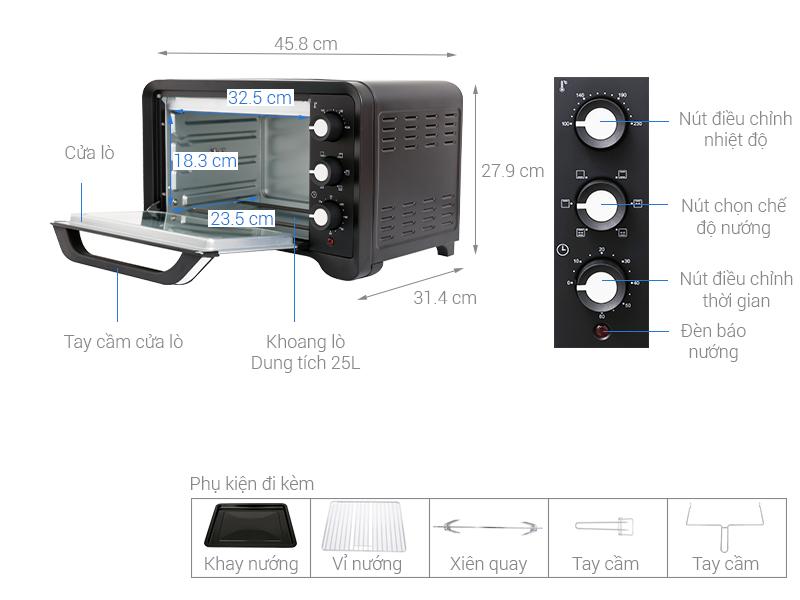 Thông số kỹ thuật Lò nướng Sanaky VH259S2D 25 lít