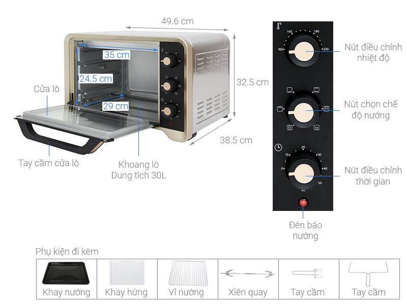 Thông số kỹ thuật Lò nướng Sanaky VH309N2D 30 lít
