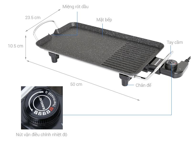 Thông số kỹ thuật Bếp nướng điện Sunhouse SHD4607 1500 W