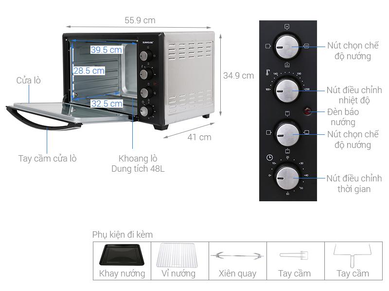 Thông số kỹ thuật Lò nướng điện Sunhouse SHD4248S 48 lít
