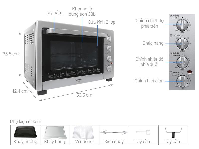 Thông số kỹ thuật Lò nướng Panasonic NB-H3800SRA 38 lít