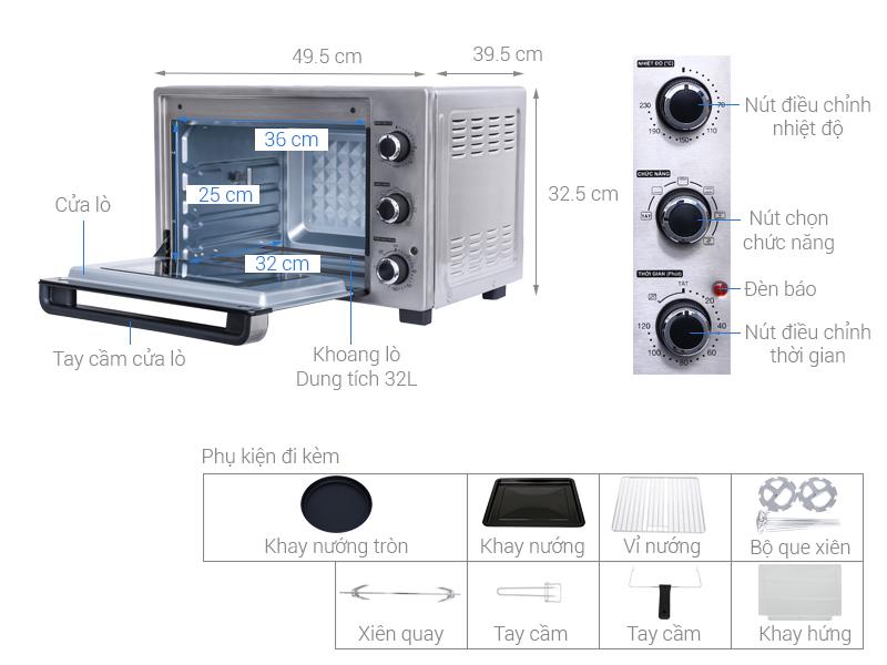 Thông số kỹ thuật Lò nướng Sharp EO-A323RCSV-ST 32 lít
