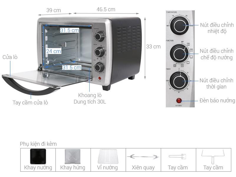 Thông số kỹ thuật Lò nướng Electrolux EOT30MXC 30 lít