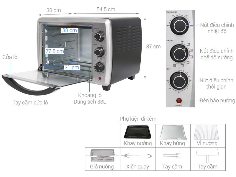 Thông số kỹ thuật Lò nướng Electrolux EOT38MXC 38 lít