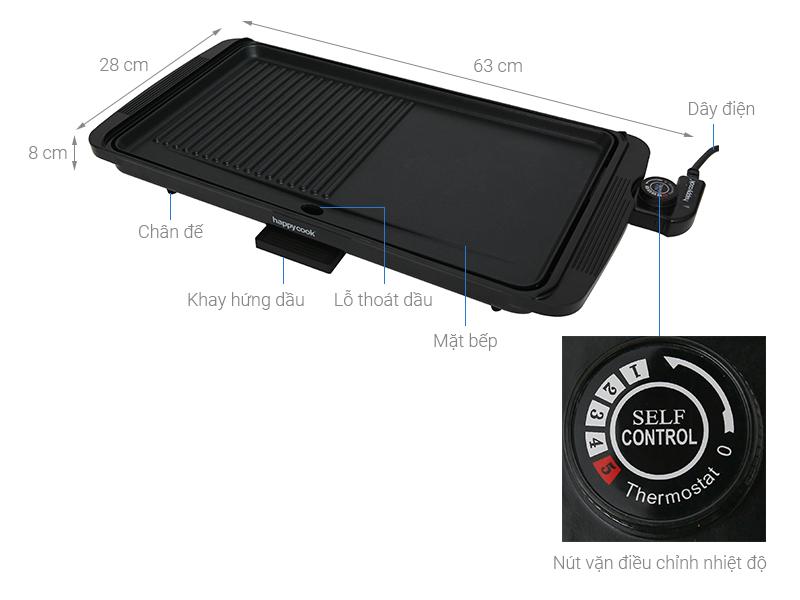 Thông số kỹ thuật Bếp nướng điện Happycook HGR 4610 2000 W