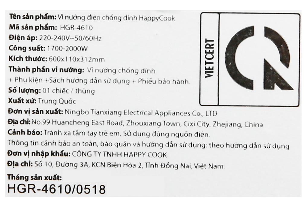 Công suất 1700 - 2000 W - Bếp nướng điện Happycook HGR 4610 2000 W