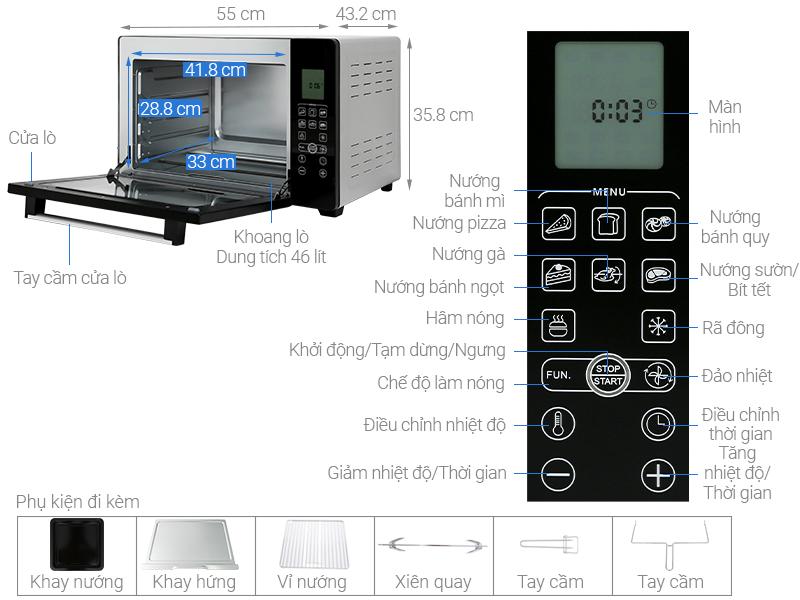 Thông số kỹ thuật Lò Nướng Sanaky VH 5088N2D 50 lít