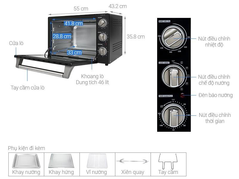 Thông số kỹ thuật Lò nướng Sharp EO-B46RCSV-BK 46 lít