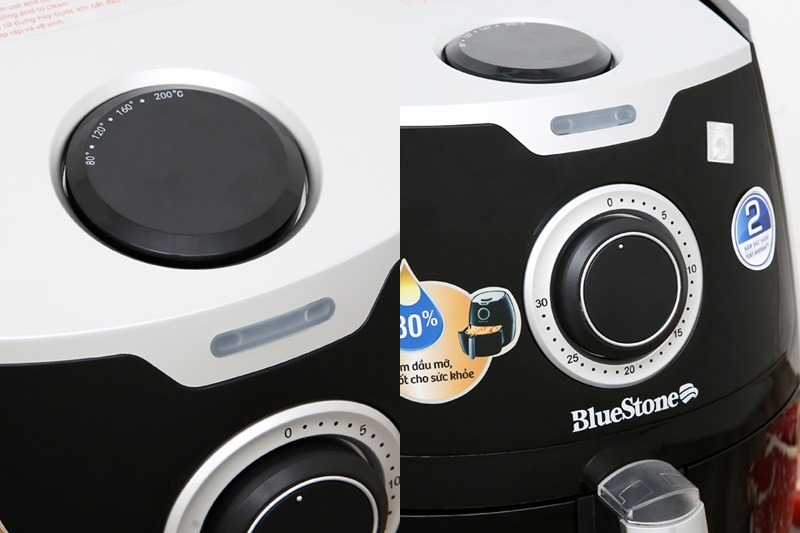 Tùy chỉnh nhiệt độ, hẹn giờ nướng bằng núm xoay - Nồi chiên không dầu Bluestone AFB-5871 5.5 lít