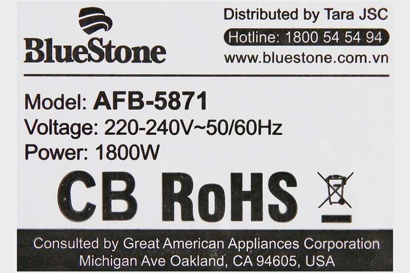 Công suất 1800 W kết hợp công nghệ Rapid Air chiên không dầu hiện đại cho món ăn chín nhanh - Nồi chiên không dầu Bluestone AFB-5871 5.5 lít