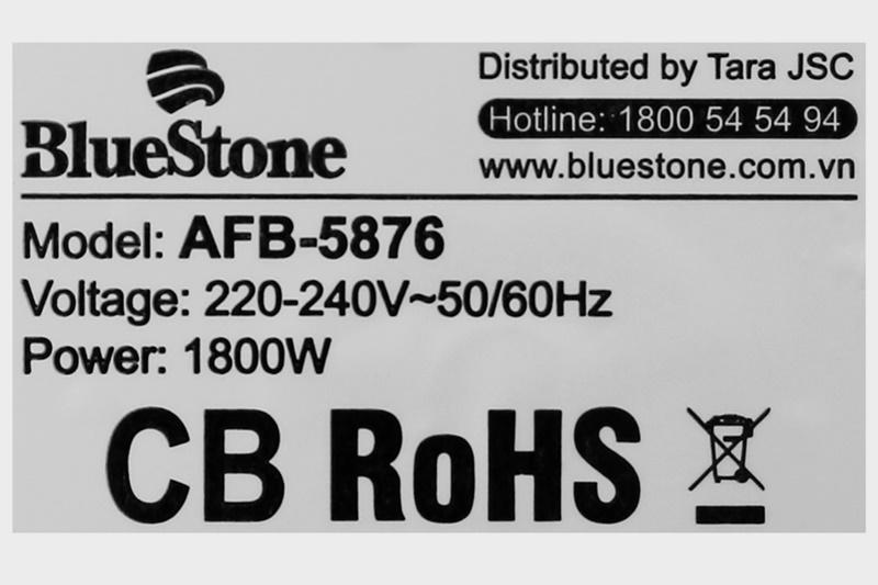 Công suất 1800 W cùng công nghệ Rapid Air, chiên thực phẩm nhanh chóng - Nồi chiên không dầu Bluestone AFB-5876 5 lít