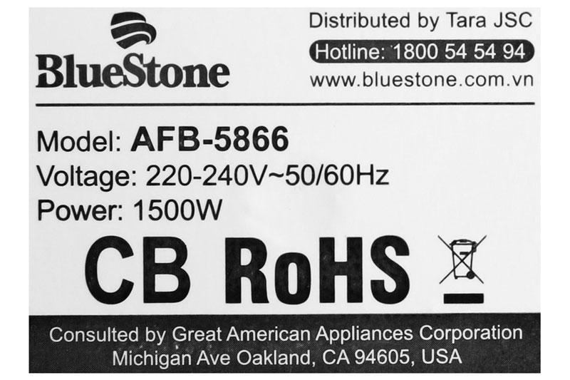 Công suất 1500 W, làm nóng nhanh - Nồi chiên không dầu Bluestone AFB-5866 3.5 lít