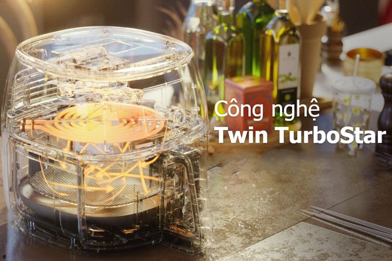 Công suất 2200 W, công nghệ làm nóng Rapid Air, mâm luân chuyển không khí Twin Turbo Star hiện đại - Nồi chiên không dầu Philips HD9650
