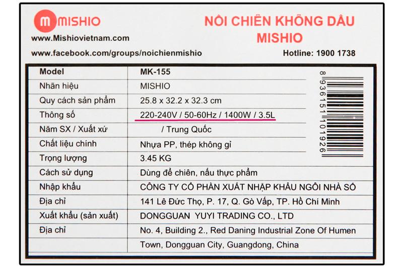 Phù hợp sử dụng gia đình  - Nồi chiên không dầu Mishio MK-155 3.5 lít Trắng