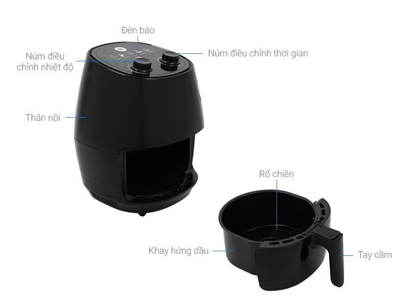 Thông số kỹ thuật Nồi chiên không dầu Mishio MK-155 3.5 lít Đen
