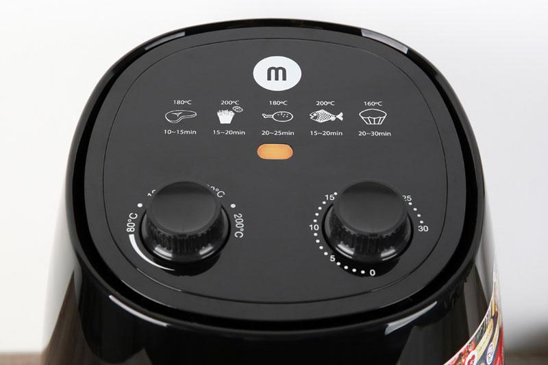 Có điều khiển núm xoay dễ thao tác - Nồi chiên không dầu Mishio MK-155 3.5 lít Đen